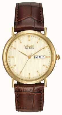 Citizen Herren brauner Armband Champagner Zifferblatt Uhr BM8242-08P