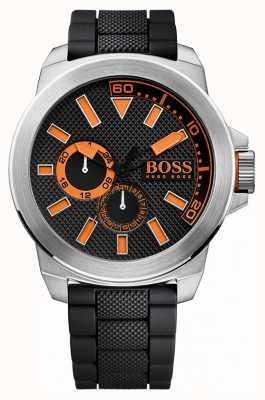 Hugo Boss Orange Gents Edelstahl, schwarzes Kautschukband 1513011