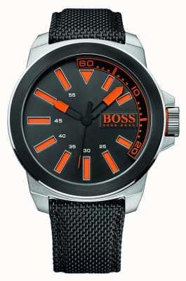 Hugo Boss Orange Gents Edelstahl, schwarzes Lederarmband 1513116
