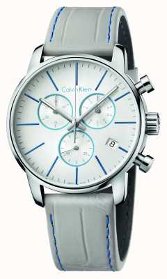 Calvin Klein Mens Stadt Chronograph grau Lederarmband K2G271Q4
