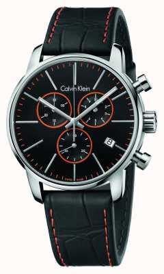 Calvin Klein Gents Stadt Chronograph schwarzes Lederarmband K2G271C1