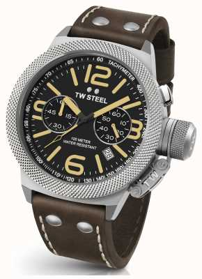 TW Steel Gents Kantine 50mm Chrono braunes Lederarmband CS34