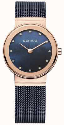 Bering Ladies blau Mesh PVD Roségold 10126-367