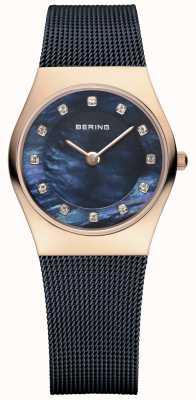 Bering Ladies blau Maschenarmband PVD Roségold 11927-367