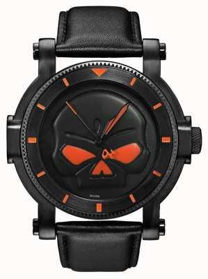 Harley Davidson Mens schwarz willie g Schädel Uhr 78A114