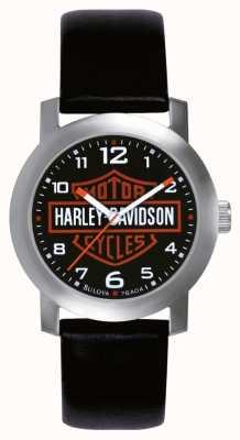 Harley Davidson Mens schwarzes Lederarmband Uhr 76A04