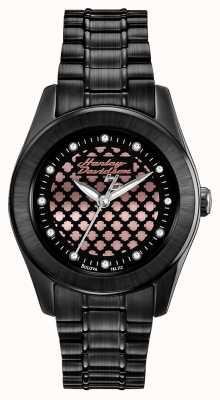 Harley Davidson Schwarz und stieg Frauen goldene Uhr 78L112