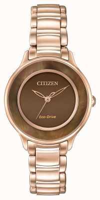 Citizen Eco-drive Roségold Kreis der Zeit braun EM0382-86X