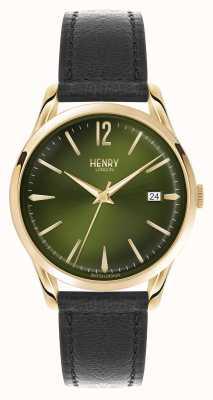 Henry London Chiswick schwarzes Lederband grünes Zifferblatt HL39-S-0100
