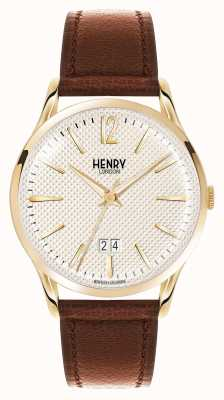 Henry London Westminster braunes Lederarmband Champagner HL41-JS-0016
