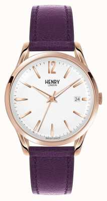 Henry London Hampstead lila Lederband weißes Zifferblatt HL39-S-0082