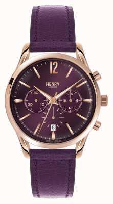 Henry London Hampstead lila Lederband Chronograph HL39-CS-0092
