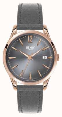 Henry London Finchley grauen Lederband Zifferblatt grau HL39-S-0120