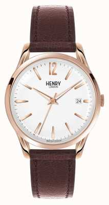 Henry London Richmond braunes Lederband weißes Zifferblatt HL39-S-0028