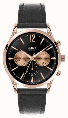 Henry London Richmond schwarzes Lederarmband Chronograph HL41-CS-0042