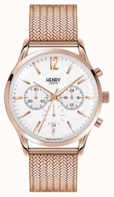 Henry London Richmond stieg vergoldet Chronograph Netz HL41-CM-0040