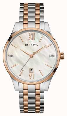 Bulova Der Frauen mit zwei Tönen weißen Perlmutt-Zifferblatt 98S150