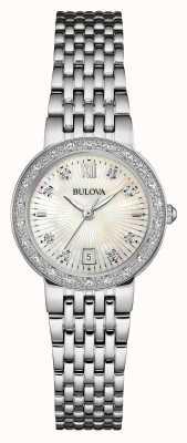 Bulova Frauen Edelstahl Diamant weißes Zifferblatt 96W203