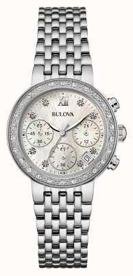 Bulova Frauen Edelstahl Diamant-Set Chrono 96W204