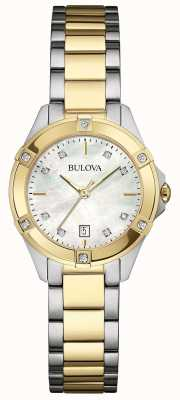 Bulova Damen mit zwei Tönen Diamant Galerie Uhren 98W217