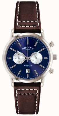 Rotary Mens Rächers braunes Lederband Chrono GS02730/05