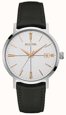 Bulova Mens schwarzes Lederband weißes Zifferblatt 98B254