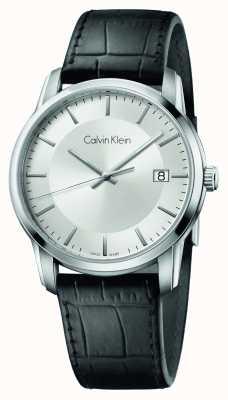 Calvin Klein Mens unendliche schwarzes Lederarmband Zifferblatt silber K5S311C6