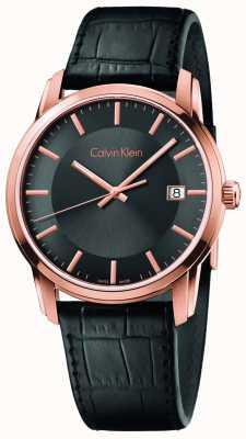 Calvin Klein Mens unendliche schwarzes Lederband Zifferblatt schwarz K5S316C3