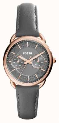 Fossil Damenschneider grauen Lederband Zifferblatt grau ES3913
