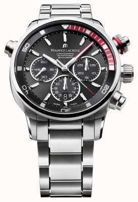 Maurice Lacroix Mens schwarze Leinwand automatische analoge Uhr PT6018-SS002-330-1