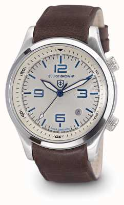 Elliot Brown Mens Canford braunes Leder weißes Zifferblatt 202-001-L09
