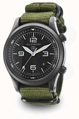 Elliot Brown Mens Canford grünen Nylonband schwarzes Zifferblatt 202-004-N01