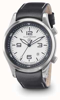 Elliot Brown Mens Canford schwarzes Leder weißes Zifferblatt 202-005-L02