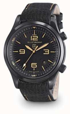 Elliot Brown Mens Canford schwarzes Leder schwarzes Zifferblatt 202-008-L11