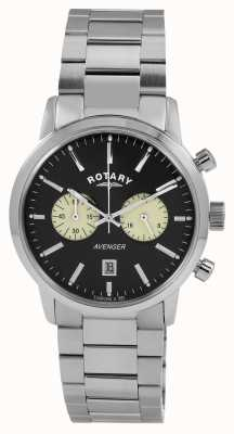Rotary Mens Rächer Edelstahl schwarzes Zifferblatt GB02730/04