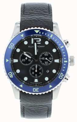 Elliot Brown Mens Bloxworth benutzerdefinierte schwarzes Leder blaues Zifferblatt 929-003