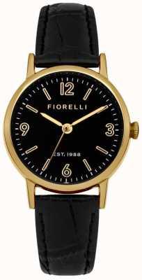 Fiorelli Womens schwarzes Lederband Zifferblatt schwarz FO015BG