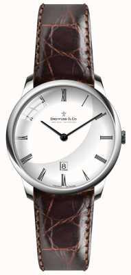 Dreyfuss Mens braunes Lederband weißes Zifferblatt DGS00135/01
