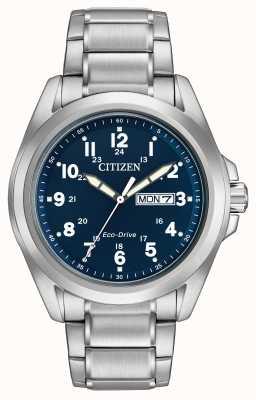Citizen Herren Eco-Drive blaues Zifferblatt Sportarmband AW0050-58L