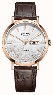 Rotary Mens braunes Lederarmband Rose vergoldet GS05304/02