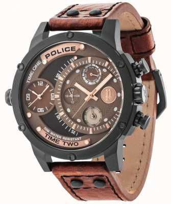 Police Brown Lederband braun schwarz Wahl 14536JSB/12A
