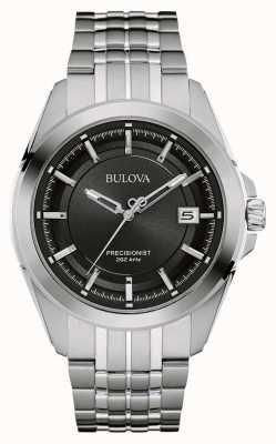 Bulova Mens-Edelstahl-Silber Band Zifferblatt schwarz 96B252