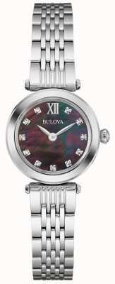 Bulova Frauen Metallband schwarz Perlmutt-Zifferblatt 96S169