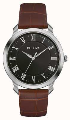 Bulova Mens schwarzes Zifferblatt braunes Lederarmband 96A184