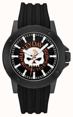 Harley Davidson Herren Leder schwarz Gurt schwarzes Zifferblatt 78A115