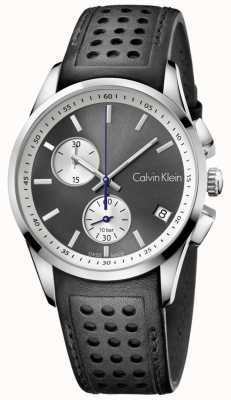 Calvin Klein Mens bold Chronograph schwarzes Leder K5A371C3