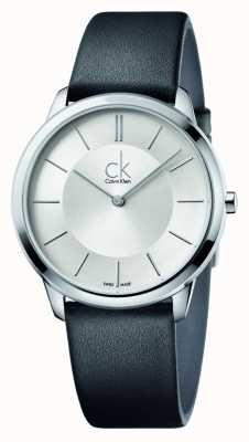 Calvin Klein Mens minimal schwarzes Lederarmband K3M211C6