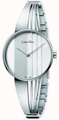 Calvin Klein Frauen treiben silbernes Zifferblatt K6S2N116
