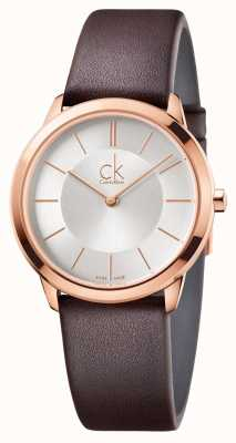 Calvin Klein Mens minimal silbernes Zifferblatt Rotgold K3M226G6