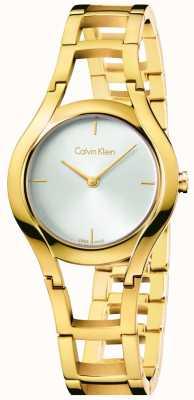 Calvin Klein Damen-Klasse vergoldet weißes Zifferblatt K6R23526
